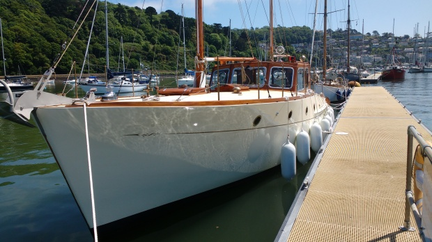Fortuna II on the pontoons in Dartmouth